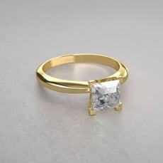 anillo de compromiso con corte princesa